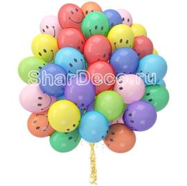 """Облако из шаров """"Смайлы цветные""""  - купить в Москве с доставкой  - Шардеко"""