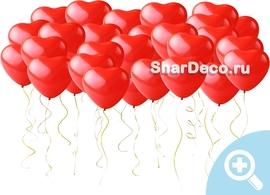 Шары под потолок Красные сердца из шаров на свадьбу - Шардеко