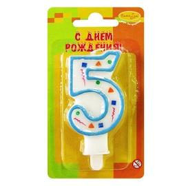 """Свеча цифра """"5"""" Голубое Конфетти - купить в Москве с доставкой  - Шардеко"""