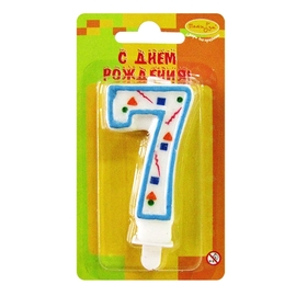 """Свеча цифра """"7"""" Голубое Конфетти - купить в Москве с доставкой  - Шардеко"""