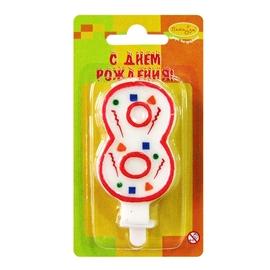 """Свеча цифра """"8"""" Красное Конфетти - купить в Москве с доставкой  - Шардеко"""
