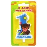"""Свеча Цифра """"1 Зайка"""" голубая - Шардеко"""