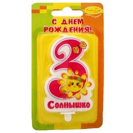 """Свеча Цифра """"3 Зайка"""" розовая - купить в Москве с доставкой  - Шардеко"""