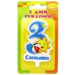 """Свеча Цифра """"3 Зайка"""" голубая - Шардеко"""